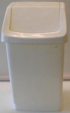 Søppelbøtte, hvit plast