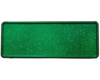 Grønt glitter skilt med navn og dato