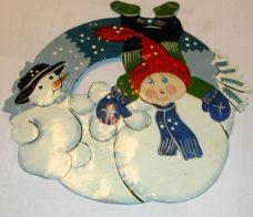 Metallplate med julemotiv
