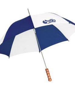 Paraply med eget navn hvit/blå